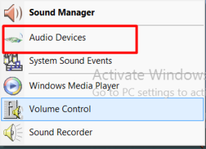 go to audio devices - microphone problems